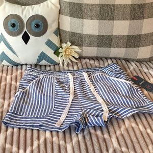 Women's Blue and White Stripped Shorts